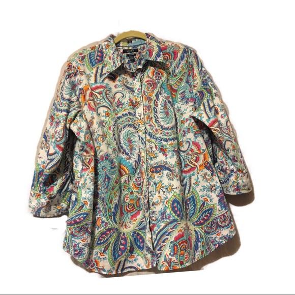 82b92059341e3e Chaps Tops | Ralph Lauren No Iron Button Up 34 Sleeve | Poshmark